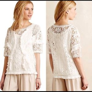 Anthropologie Yoana Baraschi Fringe Lace Top